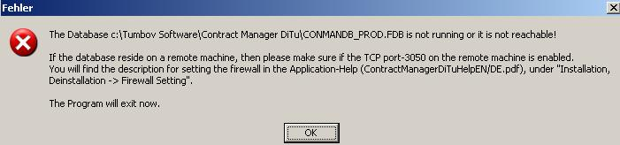 Error message at program start - The database is not reachable